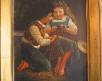 Antique oil painting children boy watching girl knit