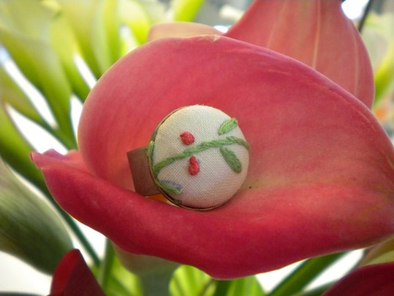 Embroidered Fabric Button Ring - Cherries Jubilee