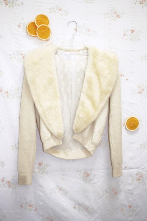 Vintage 1940's Creamy Mink & Cashmere Sweater