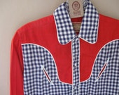 50s Roy Rogers Western Shirt Red with Blue Gingham