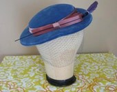 Blue Velvet Hat with Fascinator Veil and Feather
