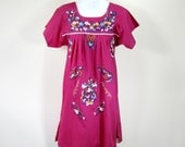 RESERVED for Charlotte/// 70s Purple Mexican Sundress Floral Embroidered Ethnic Boho Womens Small