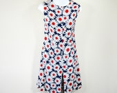 RESERVED for Maya/// 60s Mod Daisy Jumper Romper Red White Blue Floral Sleeveless Womens Medium
