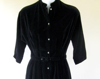 1950s Black Velveteen Dress Rhinestone Buttons Extra Small