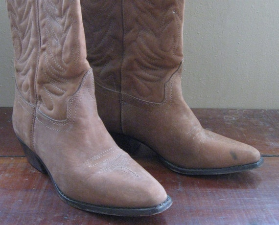 80s Brown Leather Cowboy Boots Womens 8B