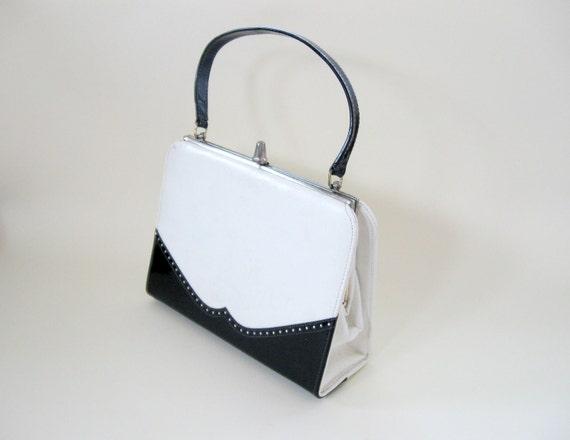 50s White Handbag Black Wing Tip Faux Leather