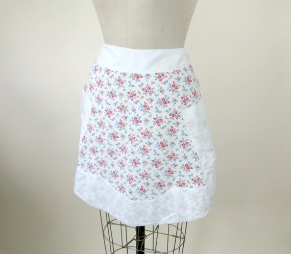 50s Floral Half Apron Handmade White Red Blue Flowers