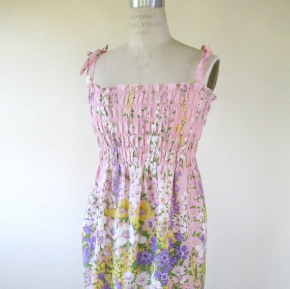 70s Pink Floral Sundress Smocked Adjustable Straps Womens Small Medium