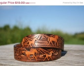 ON SALE Vintage Triple Toned Hand Tooled Mustang Belt Strap Child's Size 20