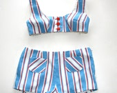 Vintage Bikini from the 1970s in Red white and Blue