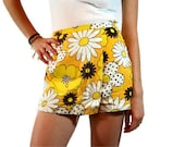 Vintage Yellow, Brown and White Flower Power Mini Skirt