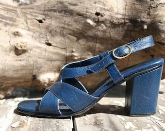 Vintage Blue Sandals Strappy