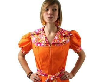 Vintage Tangerine and Pink Summer Dress 1970s Womens Medium Small