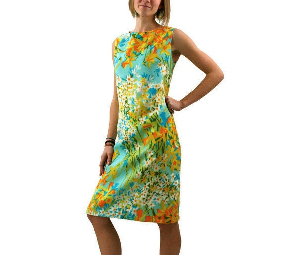 Vintage Floral Dress in Turquoise Orange Yellow Daffodils 1960s