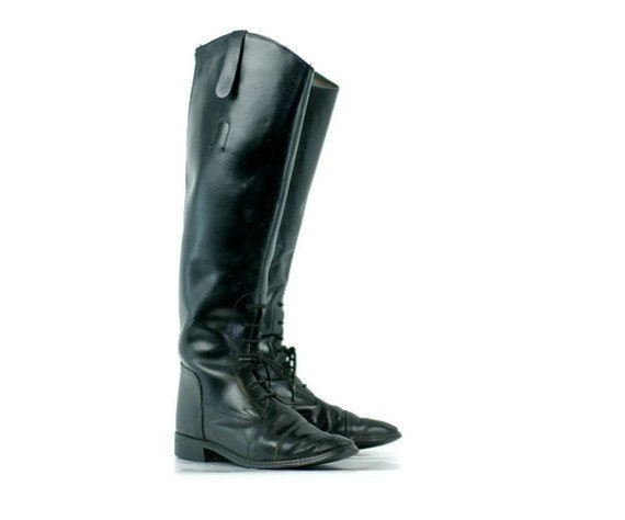 Vintage Black English Riding Boots Womens 7