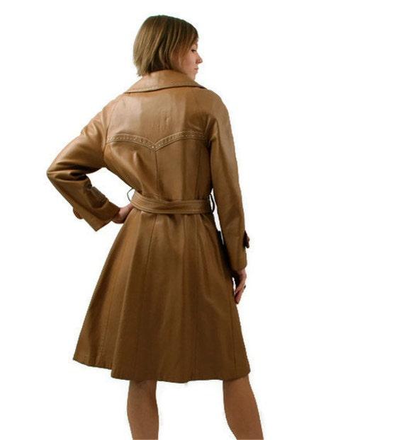 Vintage Leather Coat in Tan 1970s Womens Medium