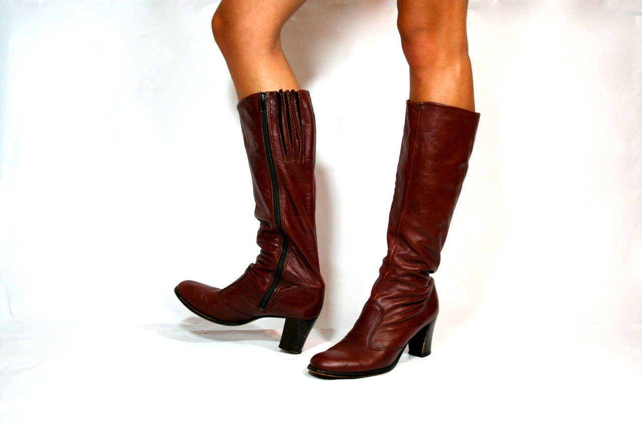 vintage burgundy leather boots womens 9 by xouda on etsy