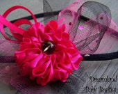 Black and Hot Pink Satin Rosette Headband with Hot pink sequin Tulle and beaded Center
