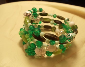 Four Layer Green Beaded Bracelet on Memory Wire, Bracelet, Green, Memory Wire