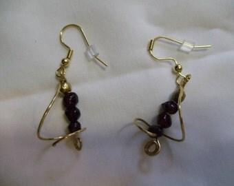 Garnet Earrings on Gold Earwires