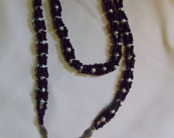 """25"""" Double-X Lariat Black and White Pearl Necklace, necklace, double, pearl, double, black"""