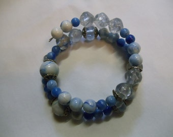 Blue Beaded Bracelet on Memory Wire - Reduced, bracelet, memory wire, blue, denim, beaded
