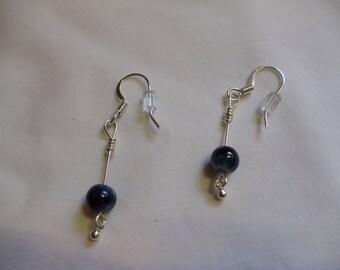 Blue Jeans Blue Dangle Earrings on Silver Ear Wires, Dangle, Blue, Jeans, Earrings