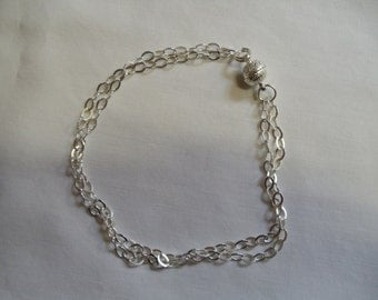 """9 1/2"""" Silver Double Chain Anklet"""