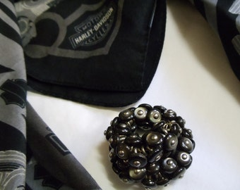 """1 1/2"""" Black Shoe Button Scarf Ring - Candle Holder - Napkin Ring"""