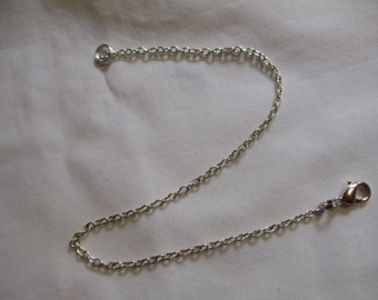 """9 1/4"""" Silver Chain Anklet With Lobster Claw Clasp, Anklet, Silver, Chain,"""