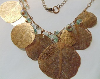 """18"""" Copper Disk Necklace with Blue Beads"""
