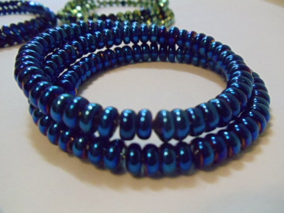 Two Layer Dark Blue  Beaded Bracelet on Memory Wire