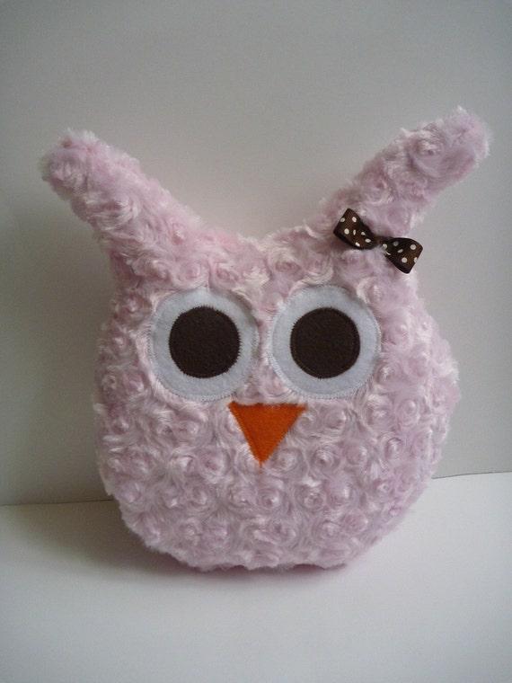 minky owl pillow for girl owl room decor or owl nursery, plush owl in pink