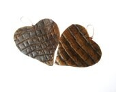 Black  Brown  Leather Heart Earrings