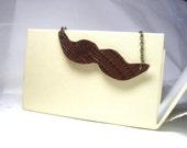 Brown  Leather Moustache Pendant   Necklace