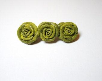 Leather Rose Flower Barrette