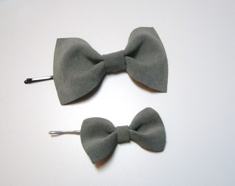 Gray Leather Bow bobby pins .Set of 2. Pins replaceable