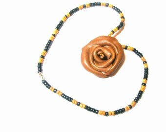 Brown Flower Leather Rose  necklace Pendant
