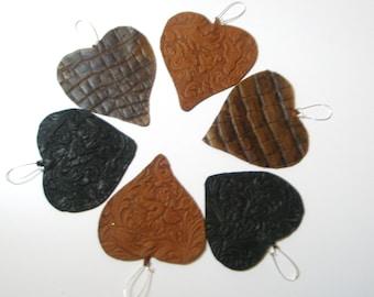 Heart  Earrings Brown Leather