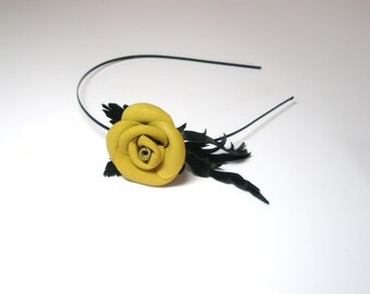 Flower headband leather mustard rose black leaves bridal hairband woodland wedding hair accessory 3 year anniversary gift