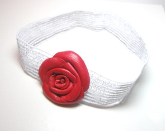 Red Leather Rose  flower Headband