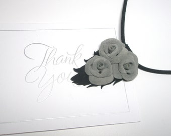 Grey Suede Rose Flower Pendant Necklace