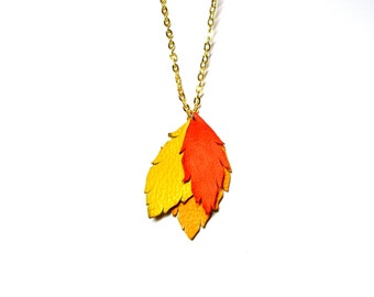 Leaves necklace - fall Leather  leaves  Necklace