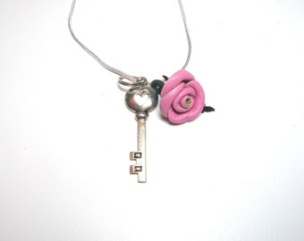 Pink Leather Rose Flower Key  Necklace -3rd anniversary gift