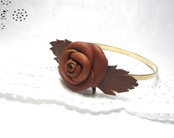 Flower rose  Bracelet  - Brown leather Bangle Cuff