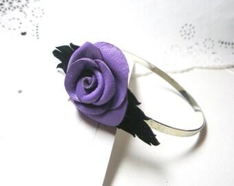 Flower Bracelet -  Violet leather rose Cuff-  lavender -Bangle