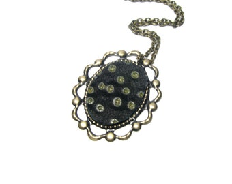 Black and Dots Leather  Jewelry Vintage Style Brass Necklace   Fashion Pendant