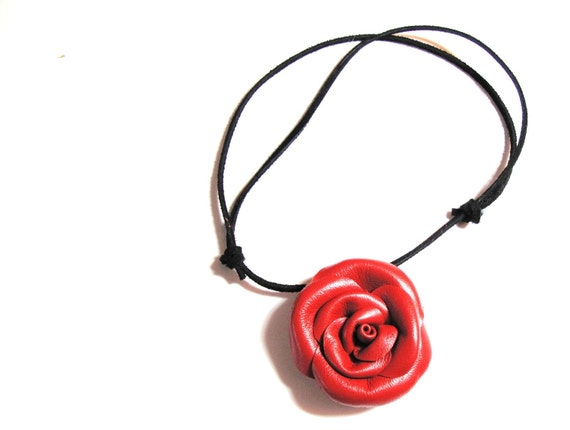 Flower necklace -Red Rose choker 3rd anniversary gift - leather rose necklace