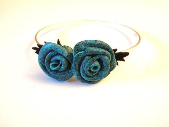 SALE    Flower Bracelet - Blue Leather  Roses  bandle bracelet