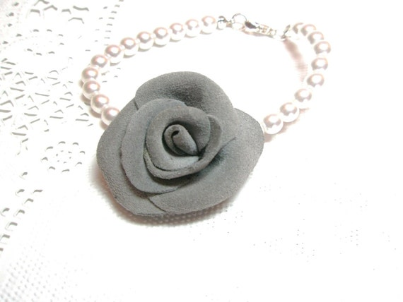 Flower Bracelet  leather  Wedding   Rose  Luxe, Faux Pearl  jewelry  Free shipping